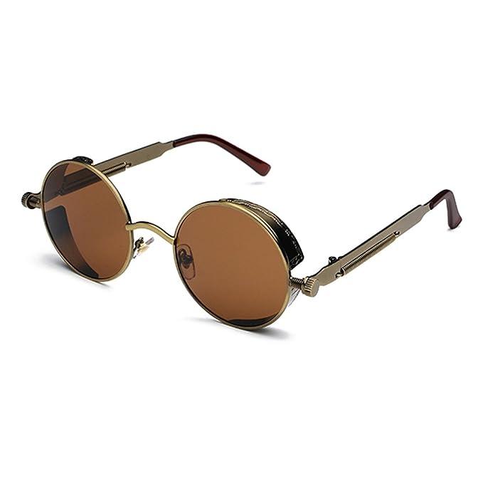 ac74aefa91f571 Hibote Klassische Steampunk Gothic Metallrahmen Sonnenbrille Frauen Männer  Beschichtung gespiegelt Vintage Sonnenbrille UV400 C1