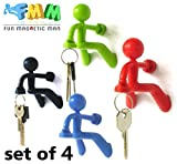 Fun Magnetic Man – 4 pcs Fantastic Magnetic Key Holder with Wall Climbing Man Design for Home Car etc | Ultra Strong Magnet Holds Up To 1.4 Pound | Black, Green, Red, and Blue