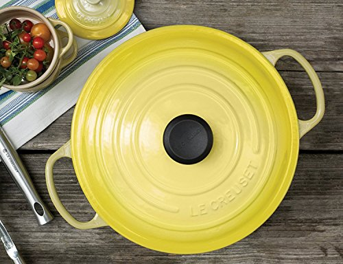Le Creuset Signature Enameled Cast-Iron 5-1/2-Quart Round French (Dutch) Oven Bundle & Le Creuset 10-1/4 In. Stainless Steel Steamer Insert, Soleil