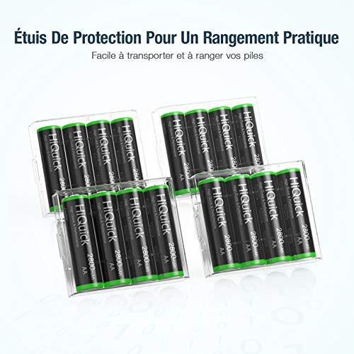 HiQuick Piles AA Rechargeables, Ni-MH 2800mAh 1,2V (Lot de 16), Haute Performance, AA Mignon LR6, Accu avec Protection Multiple, 1200+ Cycles, Batteries Rechargeables AA Durables avec Boîte à Piles
