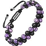 murtoo Essential Oil Bracelet Adjustable Beads Bracelet Lava Rock Stone Bracelet Perfume Diffuser Bracelet, 7''-9'' Gift (Purple Bead 6.5mm)