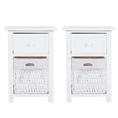 2 pezzi comodini camera da letto Comodino Mobile Bagno con Cassetto e Ceste  in Vimini,tavolino da salotto mobiletto da bagno,Stile Romantico, per ...