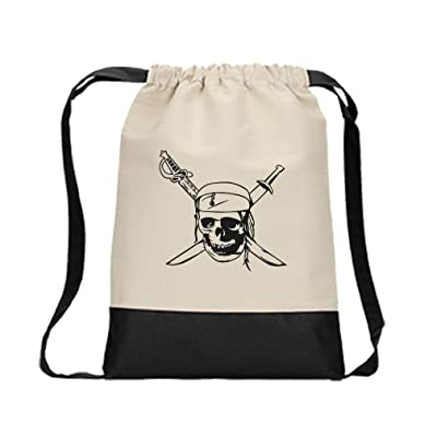 durable modeling Drawstring Backpack Color Canvas Skull And Sword Pirate Symbol Style In Print