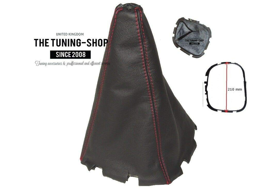 The Tuning Shop Shift Boot with Plastic Frame 210mm Leather Red Stitching