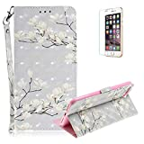Funyye Folio Wallet Case for iPhone 7 Plus/8 Plus,Stylish 3D White Flower Fantasy Painted Design Strap Magnetic Flip Case with Stand Credit Card Holder Slots Soft Silicone PU Leather Case for iPhone 7 Plus/8 Plus 5.5 inch,Full Body Shockproof Non Slip Smart Durable Shell Protective Case with Screen Protector