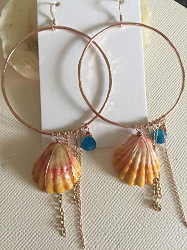 - 14K Rose Gold Hammered Textured Circle Hoops with Sunrise Shell and Apatite