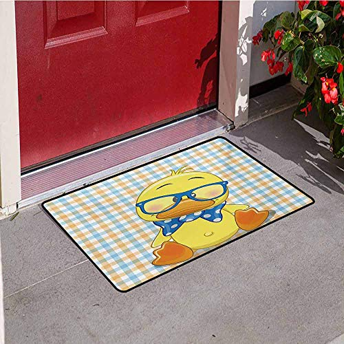 Jinguizi Cartoon Commercial Grade Entrance mat Hipster Boho Baby Duck Dotted Bow Cool Free Spirit Smart Geese Artsy Design for entrances garages patios W35.4 x L47.2 Inch Orange Yellow -