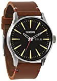 Black/Brown The Sentry Leather Watch by Nixon