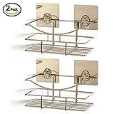 2 Adhesive Bathroom Shelf Organisers - Drill Free Wall Shelves - by LVKH (2 Pack Set)