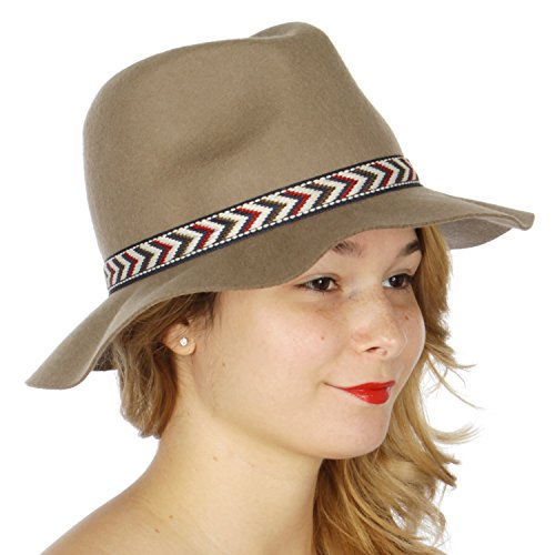 [fashion2100 Chevron band wool felt panama hat Mushroom] (One Up Mushroom Costume)