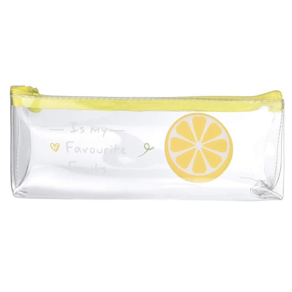 KFSO Transparent Pencil Pen Case,Watermelon Strawberry Lemon Dragon Fruit Pouch Bag Pencil Case Creative Stationery Storage Zipper Cosmetic Bag (D)