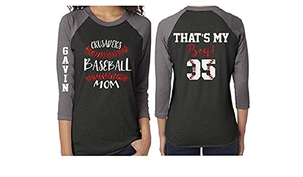 0a274908 Amazon.com: Glitter Baseball Mom 3/4 Sleeve Shirt|Customized Baseball Mom  Shirt: Handmade