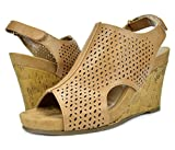 0b3b4a566ac3 TOETOS Women s SOLSOFT-6 Nude PU Mid Heel Platform Wedges Sandals - 6 M US