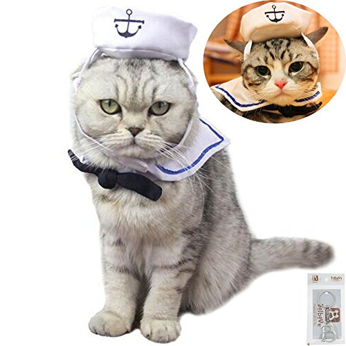 Bolbove Pet White Navy Hat Tie Set Cats & Small Dogs Sailor Costume Free Size ()