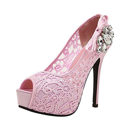 Donalworld Women Lace Up Crystal Sandals High Heel Wedding Sandals Pink uw2DobCbwG