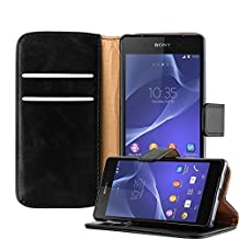 Cadorabo – Luxury Book Style Wallet Design Case for Sony Xperia Z2 with 2 Card Slots and Stand Function - Etui Case Cover Protection Pouch in GRAPHITE-BLACK