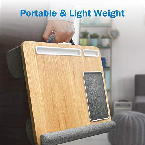 Lap Desk - Fits up to 17 inches Laptop Desk, Built in Mouse Pad & Wrist Pad for Notebook, MacBook, Tablet, Laptop Stand with Tablet, Pen & Phone Holder (Wood Grain)
