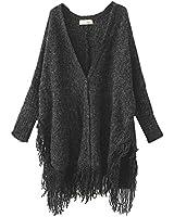 Cheruna Women's Loose Fit Cloak Tassels Knitted Cardigan Sweater