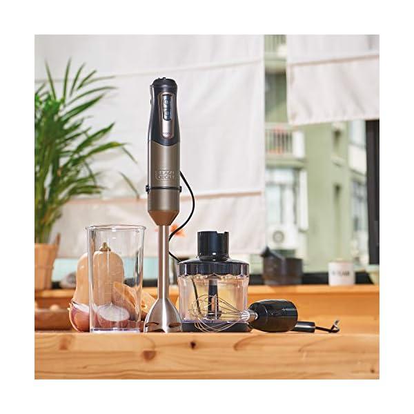 BLACK+DECKER BXHBA1000E Frullatore a Immersione, 1000 W, Inox/Plastica, Nero/Acciaio 5