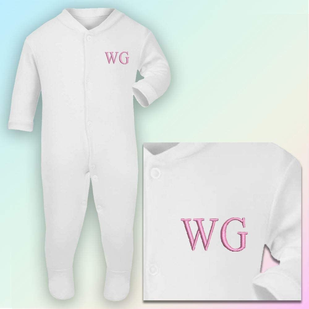 Lavender Thread Initials 3-6 Months Embroidered Sleepsuit in White