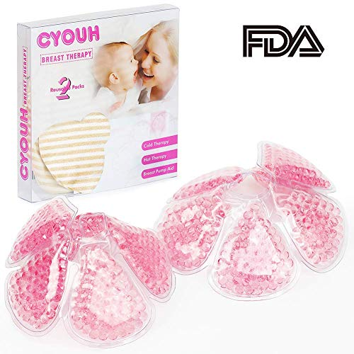 (Breast Pads Decrease Engorgement Nursing Pads Encourage Let-Down Breast Ice Pack Hot/Cold Use for Nursing Mothers to Increase Milk Production Suitable for All Breast Pump by CYOUH- Pink)