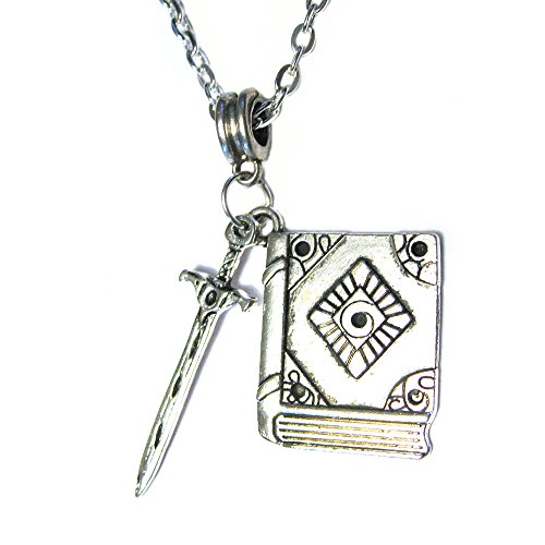 (Vanillatron Wizard Mage Witch Caster Sword Dagger with Spell Book Silver Plated Charm 18