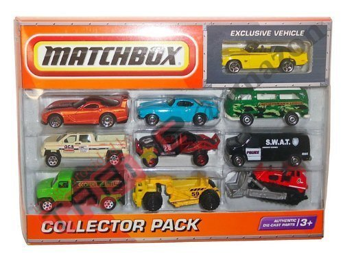 2010 Matchbox Collector 10 Pack with Exclusive 1969 CAMARO SS-396 Convertible (Yellow)
