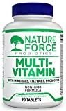 Nature Force Multivitamin for Women And for Man - Mineral Plus Vitamins B, C, D, D3 & Probiotics With Wholefoods & Herbal Ingredients, Mans and Womens Daily Non GMO