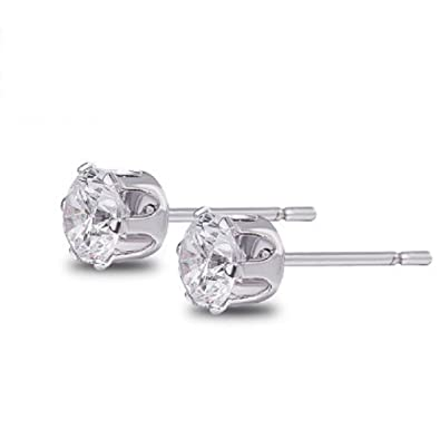 a4a327eb3 925 Silver Stud Earrings Sterling Silver Brilliant Cut Simulated Diamond CZ  Crown Stud Earrings Sterling Silver Round Cut Cubic Zirconia Stud Earrings:  ...