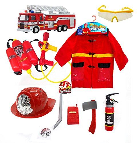 Fireman 9 Species Toys With Fireman Hat Fireman Clothes Water Gun Fire Truck