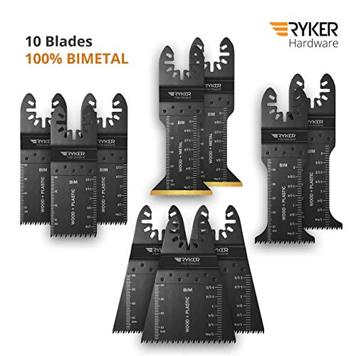 Quick Release Oscillating Saw Blades - Platinum Pack Multitool Bi-Metal Blade for Fein Multimaster, Dewalt, Bosch, Dremel Multi Max, Milwaukee, Makita, Rockwell Sonicrafter, Porter Cable Power Tool ()