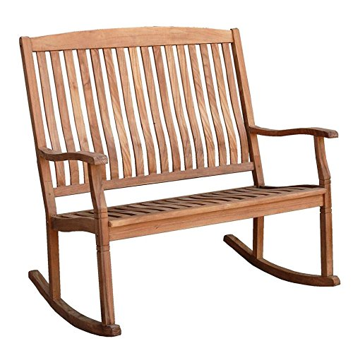 Cambridge-Casual AMZ-130776T Arie Teak Loveseat Rocking Chair, Natural