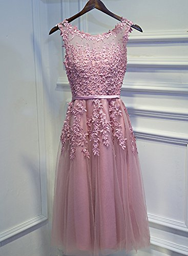Damen Spitze Kurz Cocktailkleid O Elegant LuckyShe Abendkleider Ballkleid Ausschnitt Silber Tüll Hochzeit für 2018 dqExv
