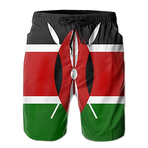 (XGUPKL Men's Beach Shorts Swim Trunks Kenya Flag Board Shorts with Pockets )