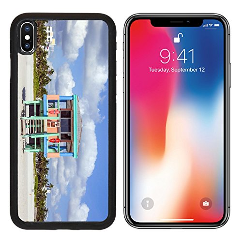 MSD Premium Apple iPhone X Aluminum Backplate Bumper Snap Case wooden colorful beach watch hut at the beautiful white beach IMAGE - Hut Usa Watch