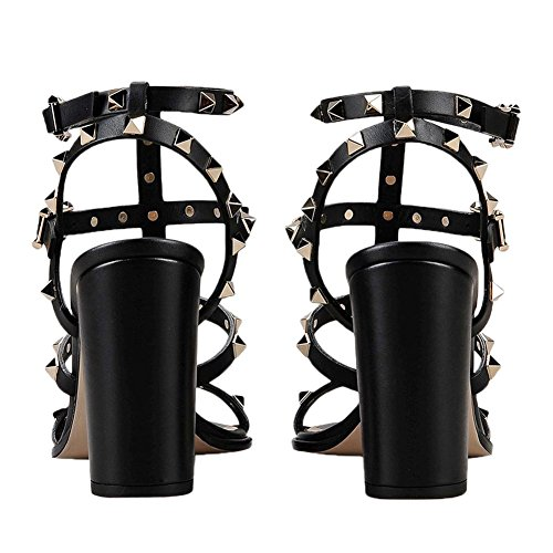 Comfity Slingback Heels Dress Out Sandals Women Sandals for Strappy Black Studded Gladiator Rivets Cut Shoes 9cm Block rxHrw80
