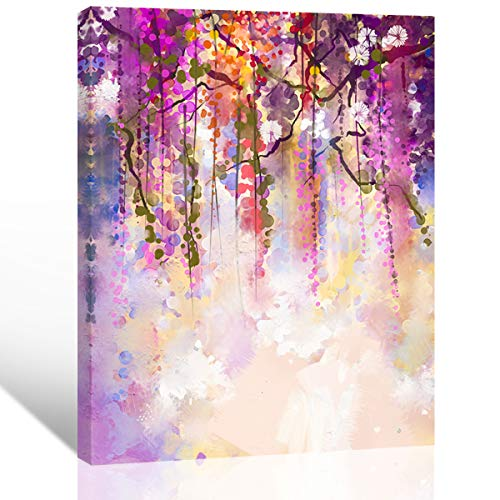 "Mon Art-Purple Grape Vine Print on Canvas Wall Art Colorful Flower Blossom Wisteria Picture Artwork for Daughters Living Room Bedroom Modern Decoration Romantic Fresh Home Decor Framed 16""x20""x1P-Pink"