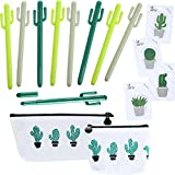 Hestya 15 Pieces Cactus School Office Supply Set Cactus Ballpoint Sticky Note with Cactus Canvas Pen Case Pencil Bag Coins Bags for School Office Supplies