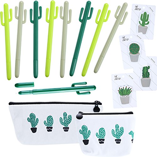 Hestya 15 Pieces Cactus School Office Supply Set Cactus Ballpoint Sticky Note with Cactus Canvas Pen Case Pencil Bag Coins Bags for School Office Supplies by Hestya