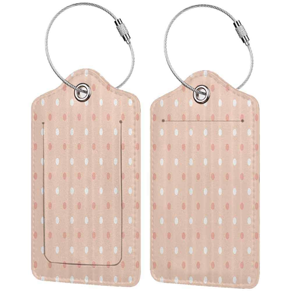 Personalized luggage tag Polka Dots Home Decor Collection Vintage Polka Dots Pattern Round Marks in Row Speckles Kids Retro Art Graphic Easy to carry Pink White W2.7 x L4.6