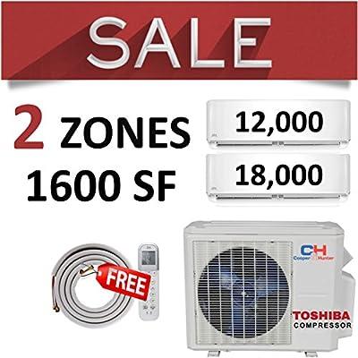 COOPER AND HUNTER Dual 2 Zone Ductless Mini Split Air Conditioner Heat Pump 12000 18000 Multi