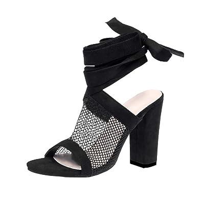 600c298497 Juleya Damen High Heels Sandaletten Sommer Sandalen Absatzschuhe Sexy Mesh  Blockabsatz Riemchen Sandalen 10cm Peep Toe