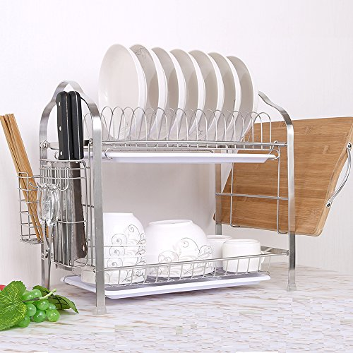 2 Tier Stainless Steel  Dish Drying Rack With Tray,Enamel Utensil Holder,Plates Organizer Drainer,Kitchen Rack Knife Dish Strainer For Counter- Large Capacity by okdeals