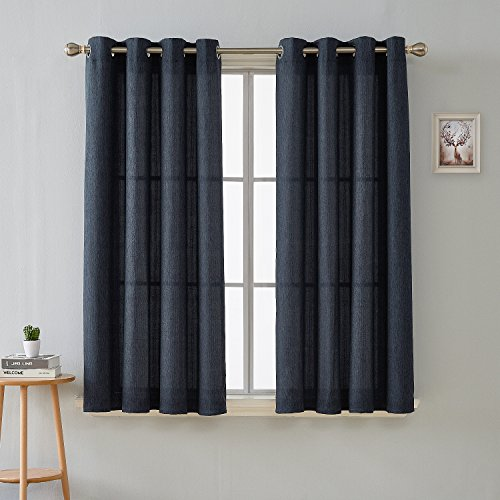 Deconovo Fashion Navy Blue Curtains for Dining Room Luxurious Faux Linen Grommet Curtains 52 x 45 Inch Length, Set of 2 (Curtains 45 Length)