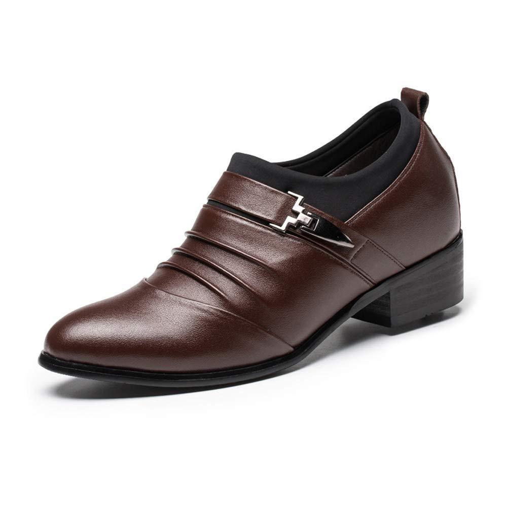 2018 Männer Oxford Business Echtleder Splice Oberen Slip-on Aufzug Schuhe, 2   (6 cm) Taller Abnehmbare Höhe Erhöhung Einlegesohle (Farbe   Schwarz, Größe   44 EU) ( Farbe   Braun , Größe   43 EU )