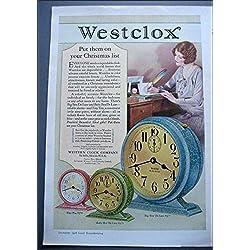 1928 Original Color Westclox AD Big Ben De Luxe, Tiny Tim, Baby Ben De Luxe