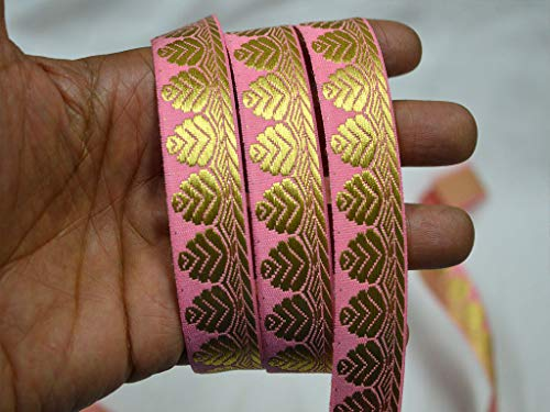 Wholesale Indian Crafting Trim Pink Decorative Ribbon Jacquard Trim by 9 Yard Sewing Trimming Brocade Jacquard Sari Border Metallic Trim