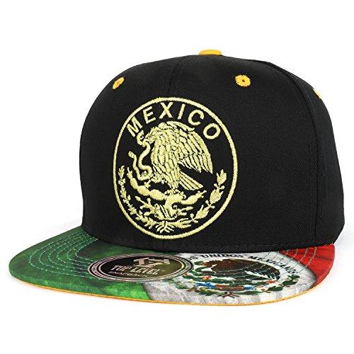 Trendy Apparel Shop Mexico Coat of Arms Golden Eagle Emblem Embroidered Snapback Cap - ()