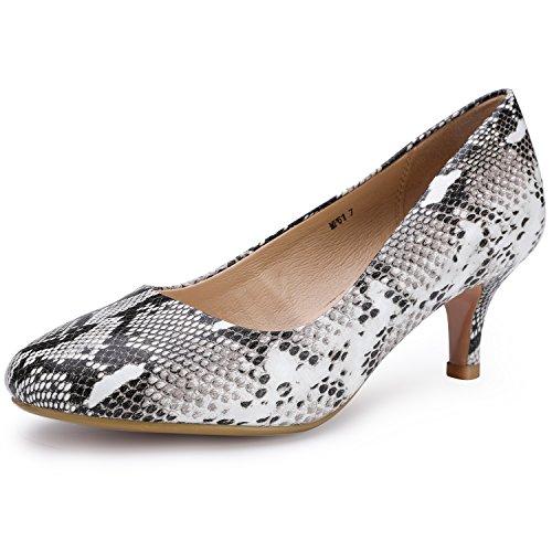 Toe Mid Heel Pumps - IDIFU Women's RO2 Basic Round Toe Mid Heel Pump Shoes (Snake White, 9 B(M) US)