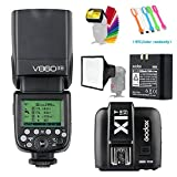 Godox V860II-N i-TTL 2.4G HSS 1/8000s GN60 Li-ion Battery Camera Flash speedlite light & X1N Wireless Remote Trigger Transmitter for Nikon DSLR Cameras +15x20cm Softbox & Filter +USB LED Free gift